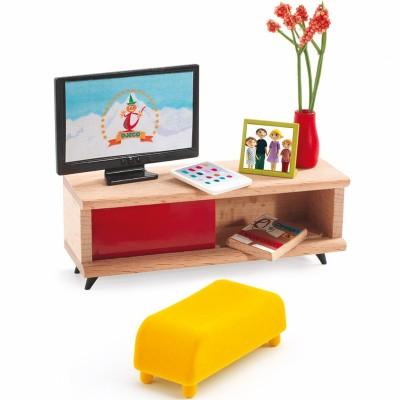 Mobilier pour poupée Le salon télévision  par Djeco
