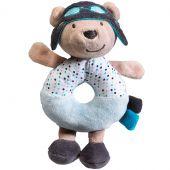 Doudou anneau hochet ours Lazare l'aviateur (15 cm) - Sauthon Baby Déco