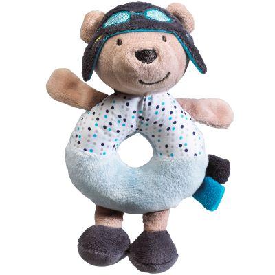 Doudou anneau hochet ours Lazare l'aviateur (15 cm)
