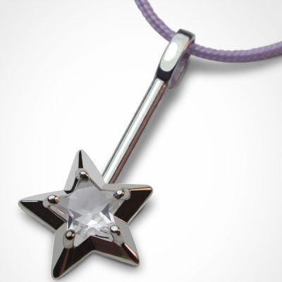 Collier cordon Abracadabra Cristal de roche (argent 925°)  par Mikado
