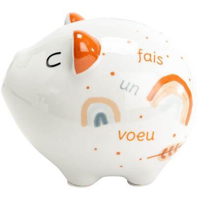 Tirelire cochon Fais un voeu en porcelaine (20 cm)  par Amadeus Les Petits