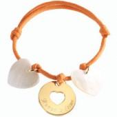 Bracelet cordon Accroche coeur (plaqué or jaune et nacre) - Petits trésors