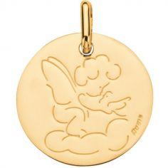 Médaille Ange à l'oiseau 16 mm (or jaune 750°)
