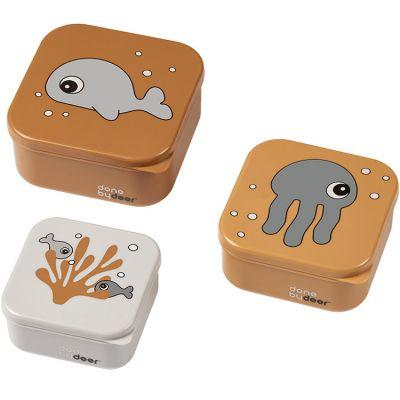 Lot de 3 boîtes à goûter Sea Friends moutarde  par Done by Deer