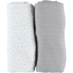 Lot de 2 draps housses en mousseline de coton gris (70 x 140 cm)