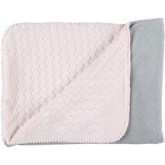 Couverture bicolore Groloudoux Mix & Match rose clair et gris (100 x 140 cm)