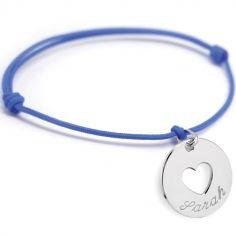 Bracelet cordon Accroche coeur (argent 925°)
