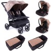 Pack Trio Poussette Double Easy Twin 3.0S taupe - Baby Monsters