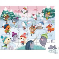 Mallette puzzle Bataille de boules de neige (36 pièces)