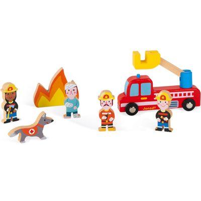 Figurines en bois Pompiers Story  par Janod
