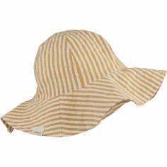 Chapeau de soleil Amelia rayé moutarde (1-2 ans)