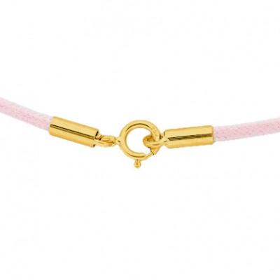 Collier cordon coton ciré rose clair 42 cm (fermoir or jaune 750°)  par Berceau magique bijoux