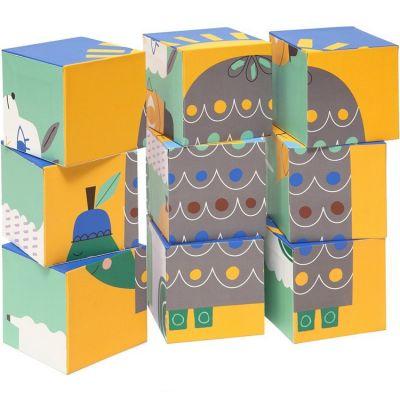 Les Animaux du Zoo Rayures Kindsgut Petit Train en Bois et Cubes de Construction Jouet en Bois b/éb/é