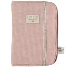 Protège carnet de santé Poema Nid d'abeille coton bio Misty pink