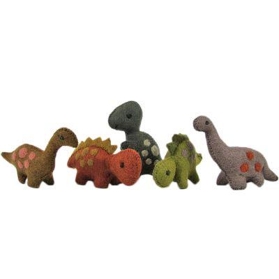 Lot de 5 dinosaures en feutrine le Monde des dinosaures  par Papoose