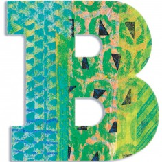 Lettre B en bois Paon