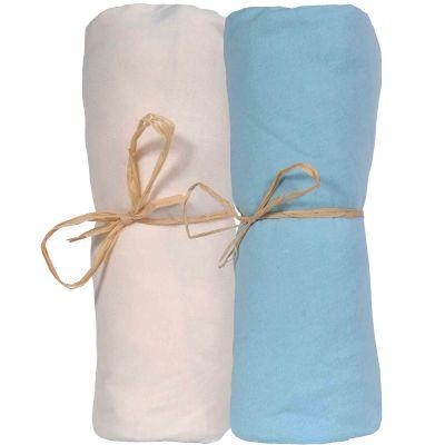 Lot de 2 draps housses en coton bio écru et bleu (60 x 120 cm)  par P'tit Basile