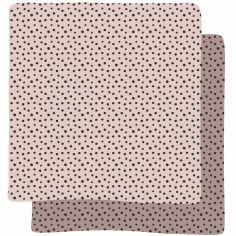 Lot de 2 langes Happy Dots rose (70 x 70 cm)