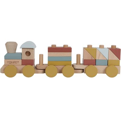 Train de construction en bois Pure & Nature (22 pièces)  par Little Dutch