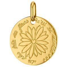 Médaille ronde Fleur 16 mm (or jaune 750°)
