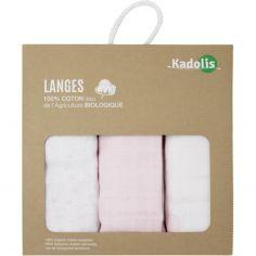 Lot de 3 langes en coton bio Rose pâle (60 x 60 cm)
