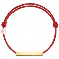 Bracelet cordon Plaque et perle rouge (or jaune 750°)