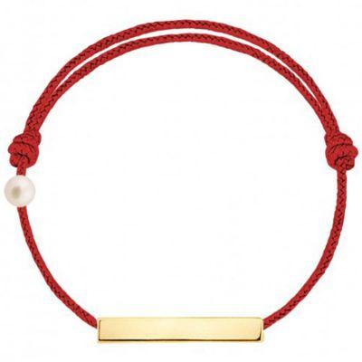 Bracelet cordon Plaque et perle rouge (or jaune 750°)  par Claverin