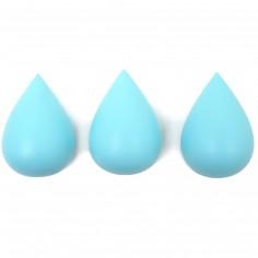 Lot de 3 patères Goutte bleu aqua
