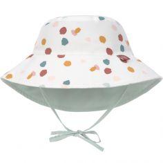 Chapeau anti-UV réversible à pois blanc (3-6 mois)