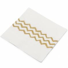 Serviettes en papier blanches chevrons dorés (20 pièces)