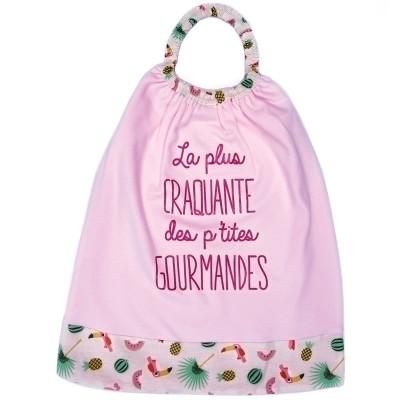Bavoir élastiqué La plus craquante rose et blanc  par BB & Co