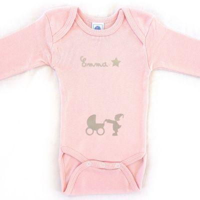 Body rose à manches longues personnalisable (12-18 mois) Les Griottes