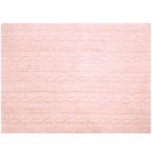 Tapis lavable unis à torsades rose (120 x 160 cm)  par Lorena Canals