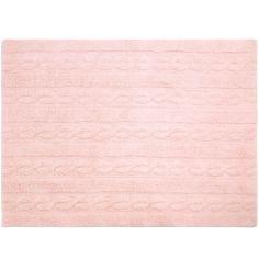 Tapis lavable unis à torsades rose (120 x 160 cm)