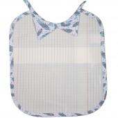 Bavoir à nouer plastifié col chemise Plumes cahier d'écolier  - Les Petits Vintage
