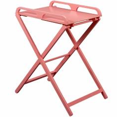 Table à langer pliante Jade en bois massif laqué rose