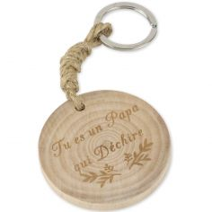 Porte-clés en bois Tu es un Papa qui déchire