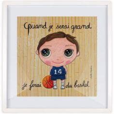 Affiche encadrée Quand je serai grand je ferai du basket (30 x 30 cm)