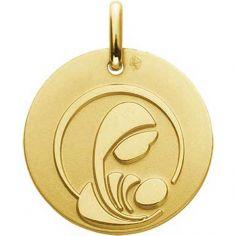 Médaille Vierge à l'enfant stylisée 16 mm (or jaune 750°)