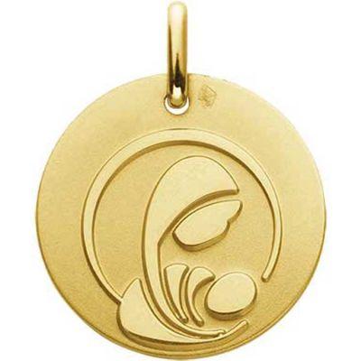 Médaille Vierge à l'enfant stylisée 16 mm (or jaune 750°)  par A.Augis