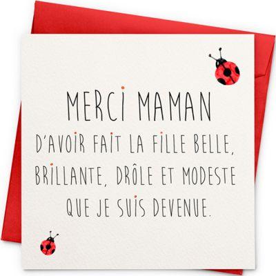 Carte Merci Maman (13 x 13 cm)  par La Poupette à paillettes