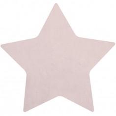 Tapis coton forme étoile coloris rose clair (100 x 95 cm)