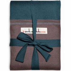 Echarpe de portage L'Originale bleu paon poche marron glacé
