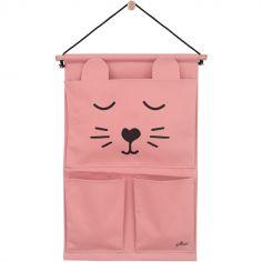 Vide-poches à suspendre en toile canvas panthère rose