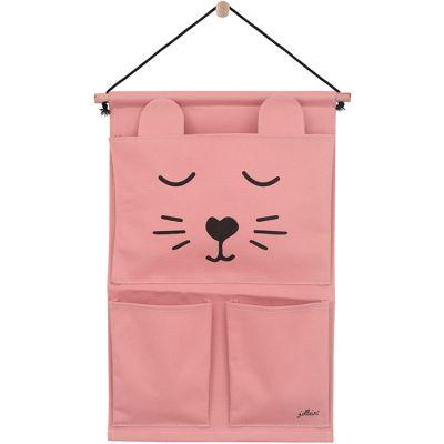 Vide-poches à suspendre en toile canvas panthère rose  par Jollein
