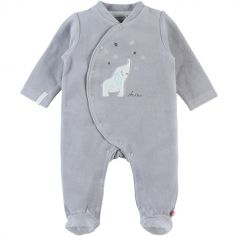 Pyjama chaud gris Eléphant Anna & Milo (1 mois)
