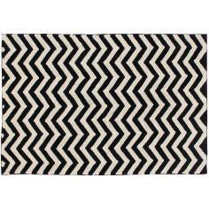 Tapis lavable zigzag noir et blanc (140 x 200 cm)