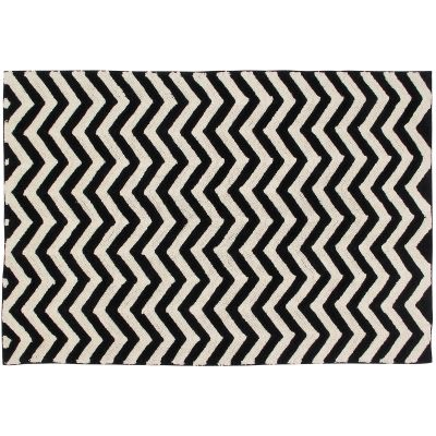 tapis lavable zigzag noir et blanc 140 x 200 cm. Black Bedroom Furniture Sets. Home Design Ideas
