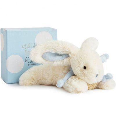 Coffret peluche lapin bonbon bleu (20 cm)  par Doudou et Compagnie