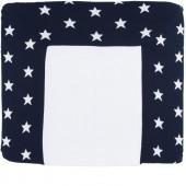 Housse de matelas à langer XL Star bleu marine et blanc (75 x 85 cm) - Baby's Only